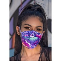 Lavender Spandex Pleated Face Mask With Filter - J Valentine FF552