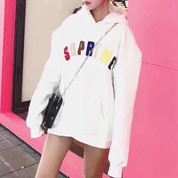 """""""Supreme"""" Rainbow Logo Letter Embroidery Loose Long Sleeve Hooded Pullover Sweater Sweatshirt Tops"""