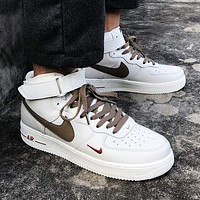 elainse29 NIKE AIR froce 1 Women Men Shoes White Sneakers Low tops Milk tea