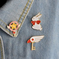 Cute Star Stick Magic Wand Bird Head Rabbit Brooch for Girls Denim Jacket Pin Uniform Badge Fashion Japanese Animation Jewelry