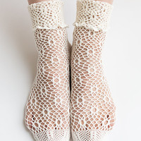 Women New Hezwagarcia Cute Cozy Knit Mesh Hole Net Ivory Color See Through Cotton Ankle Socks Stocking