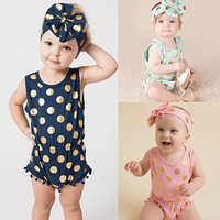 Baby Girls Rompers Cotton Baby Girl Clothes pink Polka Dots Romper Girls Sleeveless Jumpsuit Outfits