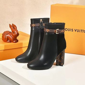 lv louis vuitton trending womens men leather side zip lace up ankle boots shoes high boots 221