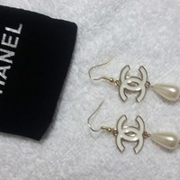 Lovely Designer White Tear Drop Pearl Earrings With Fish Hook Post