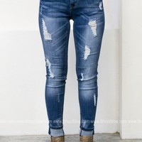 Shredded Medium Wash Skinny Denim | Grace in L.A