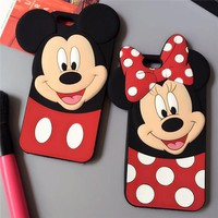 Cute 3D Cartoon Black Minnie Mouse Mickey Mouse Silicone Soft Case Cover Cases For iPhone 4 4s 5 5s SE 6 6s 7 8 Plus X XR XS Max
