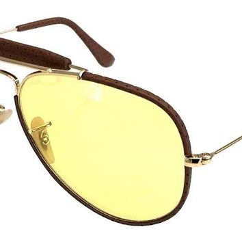 RAY BAN 3422Q 58 90424A LEATHER INSERTS GOLD ORO YELLOW GIALLO AMBERMATIC PELLE