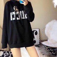 """""""Gucci"""" Women Fashion Casual Pig Gradient Color Logo Letter Pattern Print Hooded Long Sleeve Sweater Tops"""