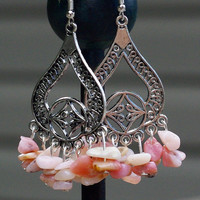 Pink Opal Earrings ~ Natural Opal Stone Chandelier Earrings ~ Summer Earrings ~ Birthday Gift ~ Bohemian Jewelry ~ Boho Style ~ Anniversary