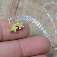 The Fault in Our Stars, two little golden stars on sterling silver chain. tfios necklace, john green, hazel grace and augustus necklace
