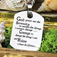 """Serenity Necklace - Prayer Necklace Engraved with """"God Grand Me The Serenity"""", 18"""" Chains Included"""