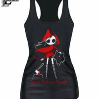 New Summer Style Sleeveless Vests Casual Fitness Tank Tops With Dead Riding Hood Lovely Printing Shirts Elastic Camisoles F754
