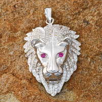 Ruby Eyes Lion Pendant 18K White Gold Finish Lab Diamond