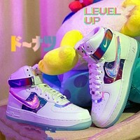 Nike x video game pixels Air Force One high-top shoes League of Legends low-top men and women white colorful laser sneakers