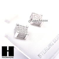 Sterling Silver .925 Lab Diamond 6mm Square Push Back Earring SE024S