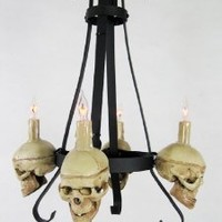Skull / Metal Chandelier with Four Small Skulls