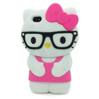 LliVEER Hot Pink iPhone 5 Lovely 3D Glasses Hello Kitty Soft Silicone Case Protective Cover Skin for Apple iPhone 5 5G 5th