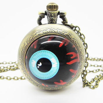 Vintage Glass Pocket Watch Necklace / Evil Eye Necklace  - Buy 3 Get 4th One Free PW010