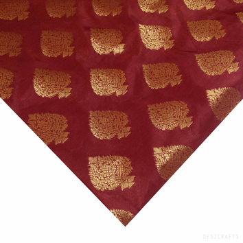 Coral and Gold Banarasi Jacquard Silk