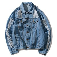 Givenchy Women Men Fashion Casual Denim Cardigan Jacket Coat
