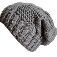 Frost Hats Winter Hat for Women GRAY Slouchy Beanie Hat Knitted Crystal Winter Hat Frost Hats One Size Gray