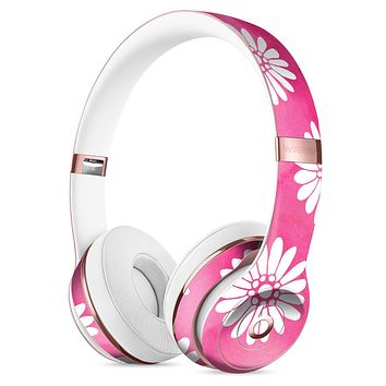 The Pink Watercolor Grunge Surface with White Floral Pattern Full-Body Skin Kit for the Beats by Dre Solo 3 Wireless Headphones