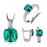 8.7ct Nano Russian Emerald Ring Pendant Earrings Clip Engagement Wedding Set 925 Sterling Silver Square Fine Jewelry For Women