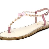 G-small Women Lady Girls Leather Bling Diamonds Pearls Sweet Bow T-strap Sandals Flats Shoes