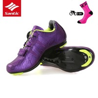 Santic 2018 Women Cycling Shoes Lace-up Nylon Sole Road Bike Shoes Lady Sneakers Athletic Racing Bicycle Shoes for Female Riding