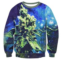 High On Weed Crew Neck Sweatshirt Men & Women Weed in Space Harajuku Style All Over Print Blue Sweater