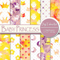 """Baby girl watercolor digital paper """"Baby Princess"""" clipart papers in pink yellow white, scrapbook baby patterns, watercolor background"""
