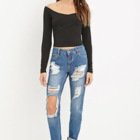 Destroyed Mid-Rise Jeans