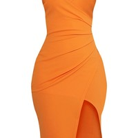 Lauriell Bright Orange Wrap Front Midi Dress