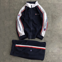 Champion 2018 autumn and winter new tide brand men and women embroidery letter sportswear suit two-piece