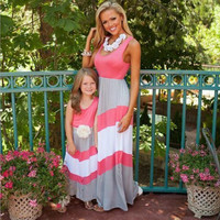 Adorable Mommy & Me Pink Grey and White Colorblocked Matching Maxi Dress Outfits