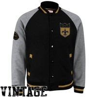Mitchell & Ness New Orleans Saints Competitor Full Button Fleece Jacket - Black/Ash