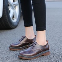 Brogue Oxford Shoes Woman 2016 New Autumn Casual Leather Women Flats Ladies British Style Moccasins Work Loafers Shoes Chaussure