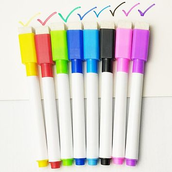5/8Pcs/lot Colorful black School classroom Whiteboard Pen Dry White Board Markers Built In Eraser Student children's drawing pen