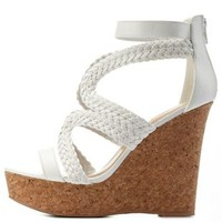 White Braided Strappy Platform Wedges by Charlotte Russe