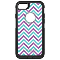 DistinctInk™ OtterBox Commuter Series Case for Apple iPhone or Samsung Galaxy - Purple Teal Chevron Stripes