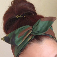Camouflage Dolly Bow Headband