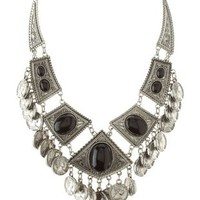 Silver Dangling Coin Bib Necklace by Charlotte Russe