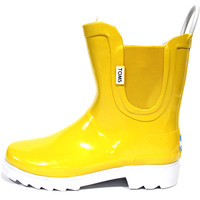 Toms Youth Unisex Rain Boot Yellow White Rubber Shoes