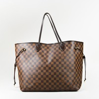 "Louis Vuitton Brown ""Damier Ebene"" Coated Canvas ""Neverfull GM"" Tote Bag"