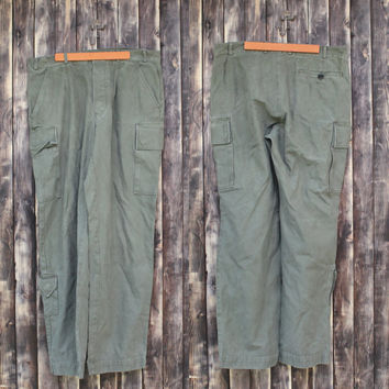 Vintage man's German army trousers field trousers military pants olive green canvas pants military  trousers camo army Halloween costume