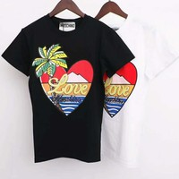 MOSCHINO Trending Women Men Casual Heart Print Round Collar T-Shirt Top Blouse