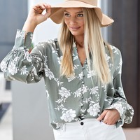 Floral Boardwalk Blouse : Sage