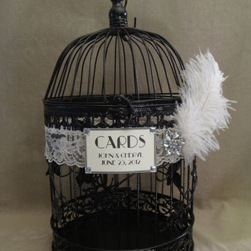 On Sale Black Birdcage Wedding Card Box / Vintage Style / Art Deco / Ostrich Feather / Birdcage Wedding Card Holder