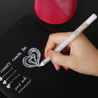1pc 0.8MM White Ink Photo Album Gel Pen Stationery Office Learning Cute Unisex Pen Wedding Pen Gift For Kids Writing Supplies