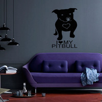 Pitbull Breed Decal Pet Animal Family Wall Decal Brit Sticker Dog Puppy 10541